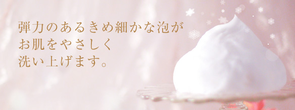 弾力のあるきめ細やかな泡がお肌をやさしく洗い上げます。